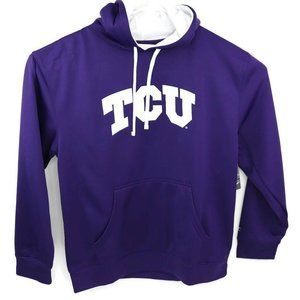 TCU Champion Unisex Hoodie Purple White Drawstring Pocket NCAA Sweatshirt L New